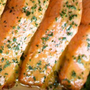 Baked salmon/ English mustard sauce